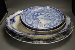 Victorian pottery dinner wares including two large meat dishes, a cheese stand, a fruit bowl etc.