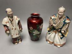 A Japanese enamel vase, 18cm and two Kutani figures of Samurai warriors