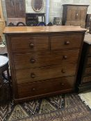 A large Victorian mahogany five drawer chest of drawers, width 120cm depth 50cm height 119cm