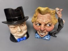 A Wilton pottery Winston Churchill character jug and a Staffordshire glazed expression 'The First 10