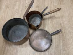 Three 19th century copper pans, one with lid, middle saucepan 27cm diameter