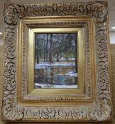 Russian School, oil on wooden panel, Woodland in winter, inscribed verso, 24 x 19cm