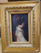 F. Scarbin, oil on wooden panel, Profile portrait of a Japanese woman, signed, 16 x 9cm