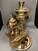A Russian brass samovar and stand, height 47cm, a copper tea urn, a brass jug and a pair of