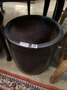A circular glazed garden planter, height 38cm