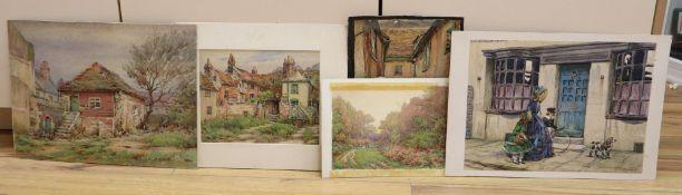 H. W. G. Betteridge (19th/20th century), five unframed watercolour drawings, possibly postcard