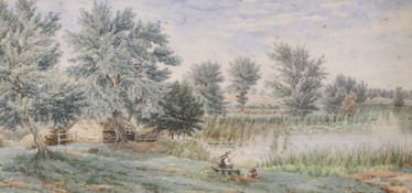 English School c.1900, watercolour, Angler in a landscape, initialled lower right, 22 x 45cm