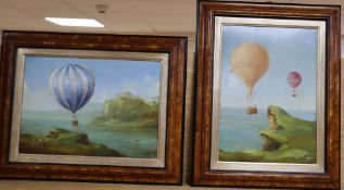 L.M., two oils on card, Ballooning scenes, initialled, 24 x 34cm and 34 x 24cm