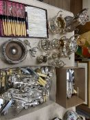 A Victorian silver plated four piece tea set, assorted plated flatware,etc.