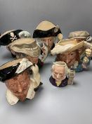 Six Royal Doulton character jugs and one smaller, tallest 18cm