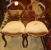 A set of six Victorian mahogany dining chairs, on cabriole legsCONDITION: Repairs to legs on some,