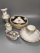 A Worcester Kakiemon vase, c.1765, a 19th century Paris porcelain plate and three tea bowls and 19th
