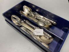A silver Old English pattern tablespoon, 2.65oz and a quantity of plated and stainless steel