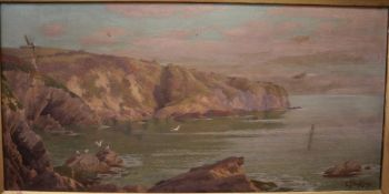 Edward J Humphery Fl.1880-1890), oil on canvas, 'Afternoon Sunshine, Cornwall', signed, 29 x