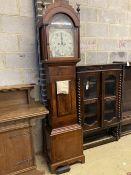 An early 19th century inlaid mahogany eight day longcase clock, height 224cm