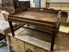 A Victorian rectangular mahogany butler's tray on later stand, width 79cm depth 53cm height 48cm