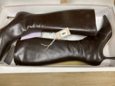 A pair of Jimmy Choo boxed brown leather high heeled pointed boots, size 40.5
