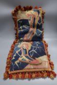 A pair of Aubusson cushions with tassel edge, 28 x 38cm