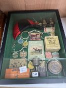 Horse racing memorabilia, arranged and contained in a glazed case, over height 56cm width 46cm