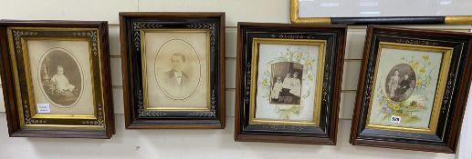 Four Victorian framed portrait photographs