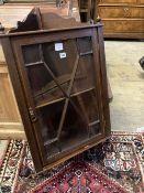 An Edwardian inlaid mahogany hanging corner cabinet, width 54cm depth 26cm height 96cm