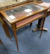 An Edwardian mahogany bijouterie table, width 66cm depth 40cm height 75cm
