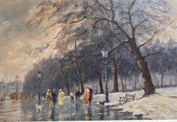John Horwood (b. 1934), oil on canvas, Winter park scene with figures, signed, 29 x 44cm