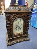 A Victorian oak mantel clock, height 50cm