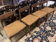 A set of four mid century Macintosh teak dining chairs, model 4003