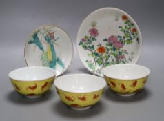 Two Chinese famille rose saucer, dishes and three yellow ground 'bat' bowls, largest diameter 18.