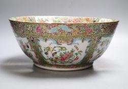 A 19th century Canton famille rose punch bowl, diameter 35cm