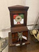 A Victorian mahogany railway signal man's box, width 27cm depth 16cm height 49cm