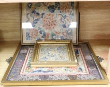 Three Chinese embroidered silk floral panels and a similar woven with objects, 19th