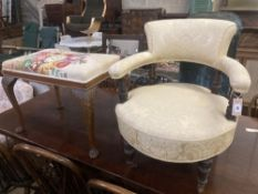 A late Victorian upholstered tub framed elbow chair, together a Queen Anne style dressing stool