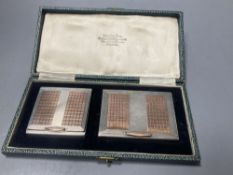 An early 1950's cased engine turned silver and yellow metal cigarette case and matching compact,