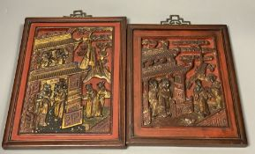 Two Chinese lacquered wood panels, late Qing dynastyCONDITION: Provenance - Alfred Theodore Arber-