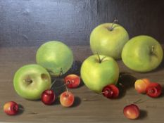 Bailey, oil on canvas, Still life of apples and cherries, signed, 24 x 34cm