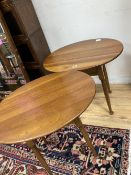 A pair of Leopold Stickley cherrywood side tables, width 65cm depth 49cm height 58cm