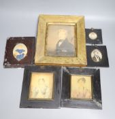 Six portrait miniatures, first half 19th century, some on ivory including a primitive example of a