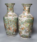 A pair of Chinese famille verte crackleware vases, height 44cm
