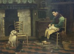 After John Charles Dollman (1851-1934), oil on canvas, 'The Dog's Barber', 32 x 45cm