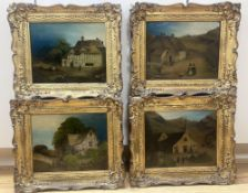 19th century Welsh School, set of 4 oils on panel, Primitive landscapes with figures beside a