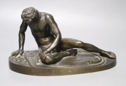 After the Antique. A 19th century bronze figure of the Dying Gaul, length 28cmCONDITION: Small