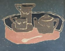 Modern British, oil on canvas, Still life of a teaset, tray and spoon, 40 x 50cm