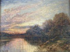 Carl Brennir (1850-1920), oil on mill board, River landscape at sunset, signed, 22 x 30cm