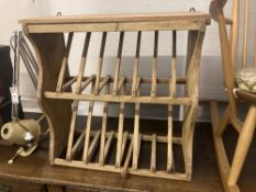 A Victorian and later pine plate rack, width 60cm depth 25cm height 59cm