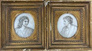 Late 18th century English School, pair of monochrome watercolours, Heads of Horace and Virgil, 11
