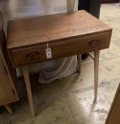 An Ercol elm side table fitted single frieze drawer, width 68cm depth 48cm height 75cm