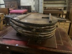A set of 17th century Spanish anvil bellows, length 130cm width 80cm height 49cm