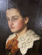 C. Stoitzner, oil on canvas laid on panel, Portrait of a young man wearing a lace collar, signed, 26